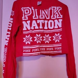 Victoria Secret PINK Cropped Christmas Long Sleeve